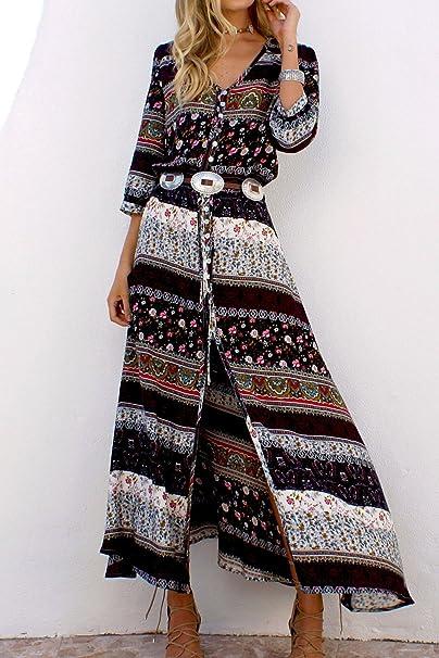 Las Mujeres Vestido Hippy V Cuello Vestidos Vintage Belted Casual: Amazon.es: Ropa y accesorios