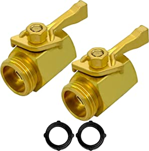 MAXFLO Heavy Duty Brass Hose Shut Off Valve | 2 Pack Garden Hose Connector | Water Hose Valve Shut Off | Shutoff Valve | 2 Extra Pressure Washers | Fits All Standard Hoses