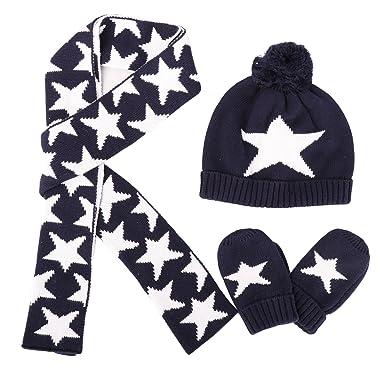 Ensemble 3 Pcs Bonnet Echarpe Gants Tricoté en Coton Chapeau Chaud pour  Enfant Bébé Garçon Hiver 41948f0c551