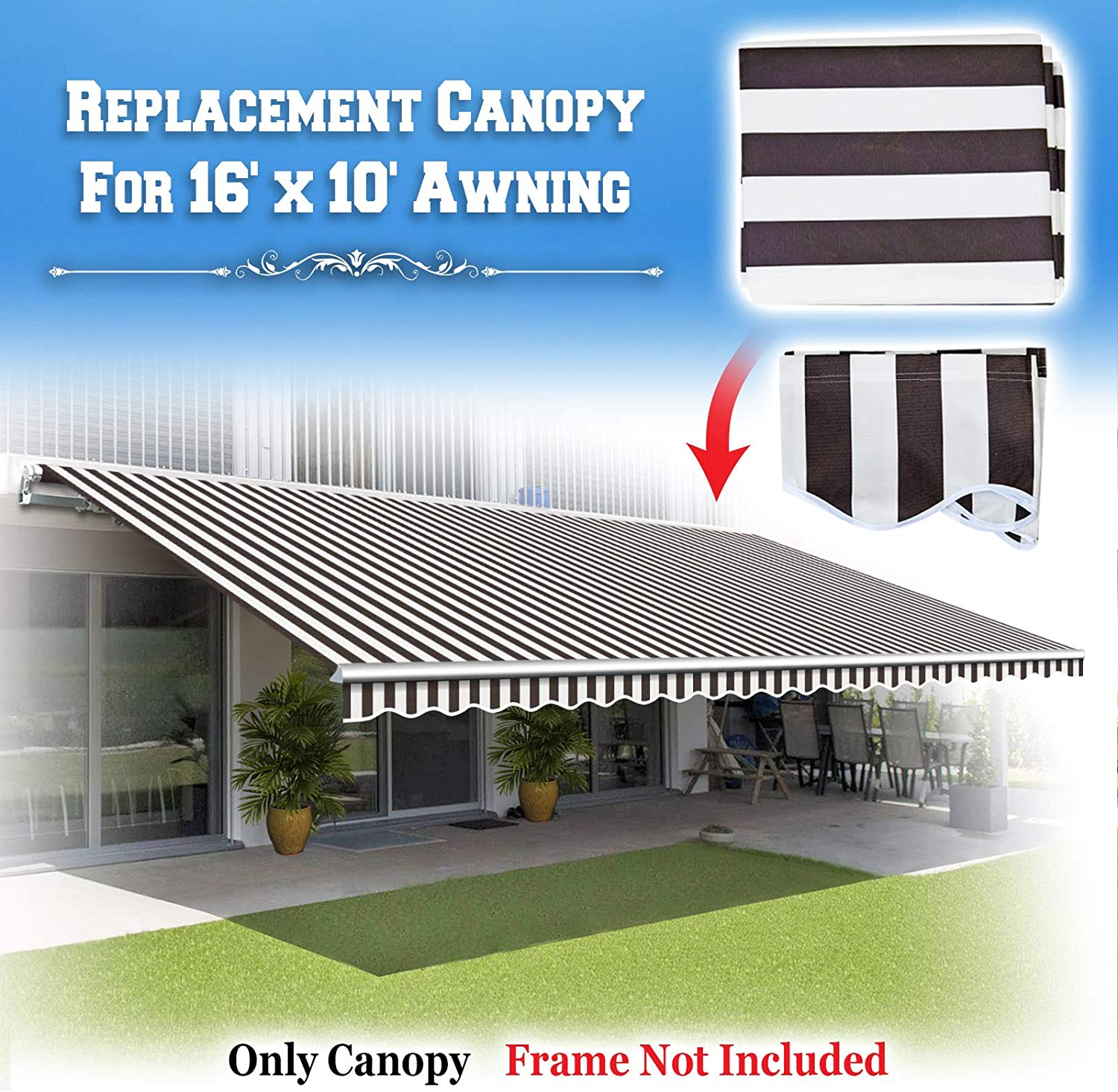 BenefitUSA Canopy ONLY 16 x 10 Patio Deck Awning Cover Retractable ...