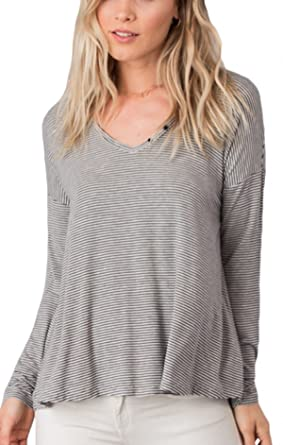 89f919a955 Rag Poets RT173249 Mesa Stripe Top in Pavement (x-Small) at Amazon ...