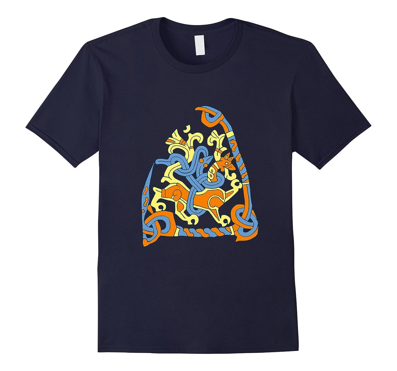Viking Lion Snake Rune Stone T-Shirt-ANZ