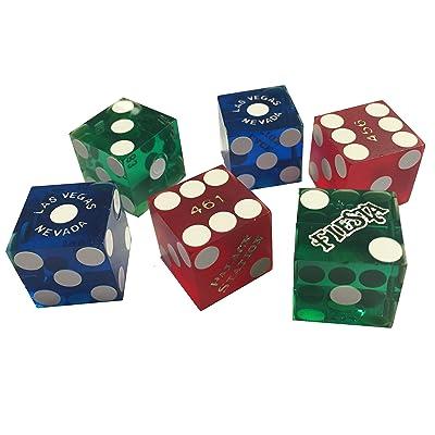 6Las Vegas Casino dés le Craps–Une paire de rouge, bleu et vert (6Die/3paires)