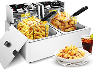 Commercial Deep Fryer with Dual Tanks, 3600W Electric Countertop French Fries Fryer Oil Fryers with Removable Baskets and Adjustable Temperature Limiter for Restaurant, Fast Food Bar