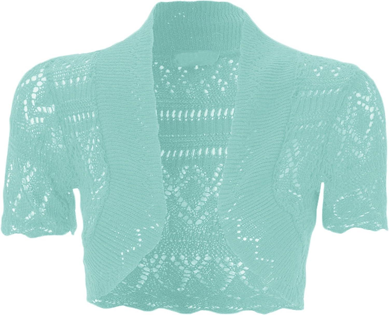 WearAll Ladies Crochet Shrug Knitted Bolero Top Women Cardigan 8 14