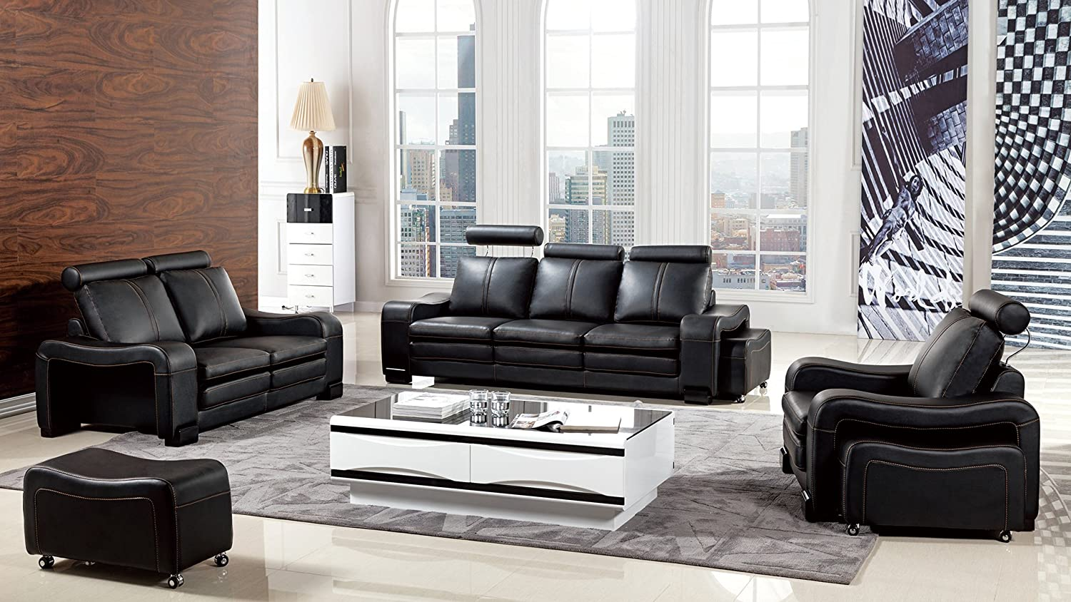 American Eagle Furniture Delaware Collection Modern Living Room Premium Leather 6 Piece Sofa Set and Wheeled Ottomans, Black