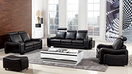 Exceptionnel American Eagle Furniture Delaware Collection Modern Living Room Premium  Leather 6 Piece Sofa Set And Wheeled
