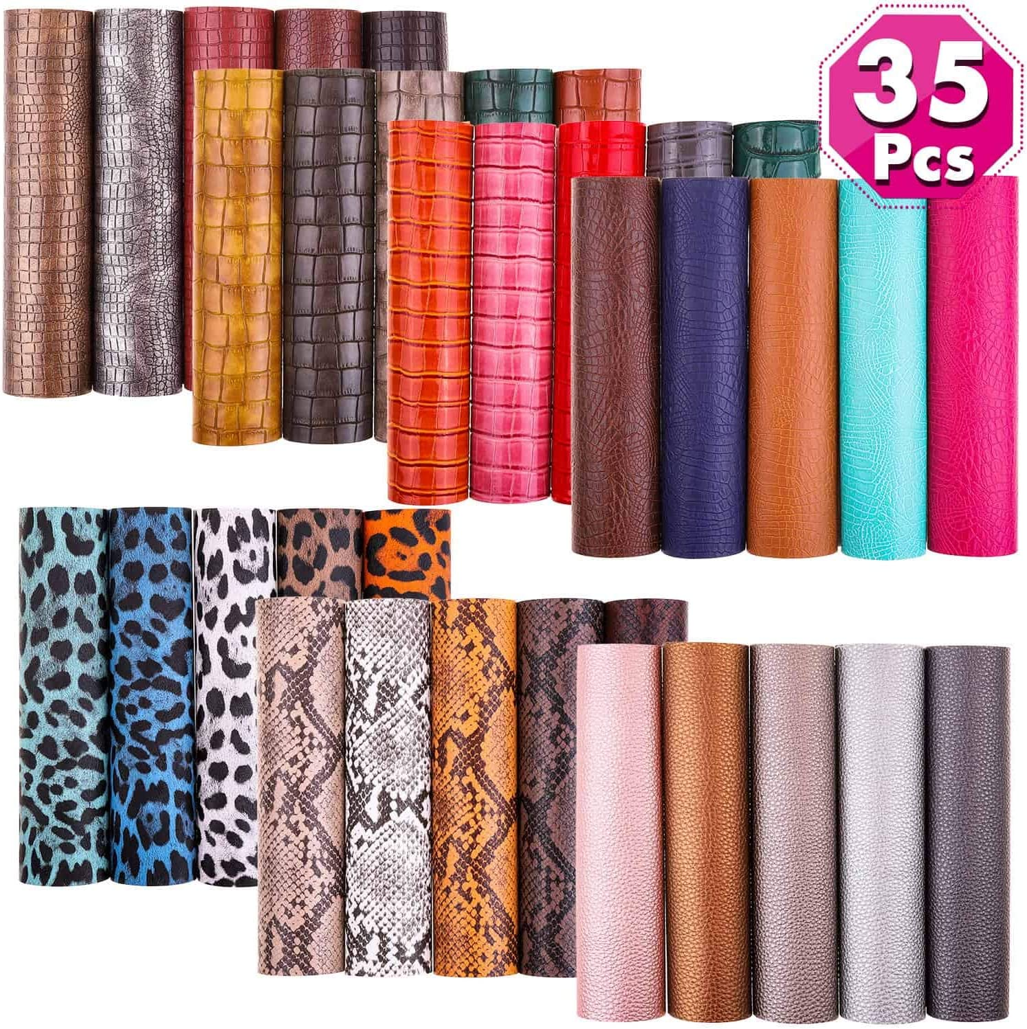 35 Pcs Faux Leather Sheets for Earrings Making, Cridoz 7 Styles Faux Leather Fabric Sheet for Earrings Making, Hair Bow and Crafts, 6.3 x 8.3 Inches
