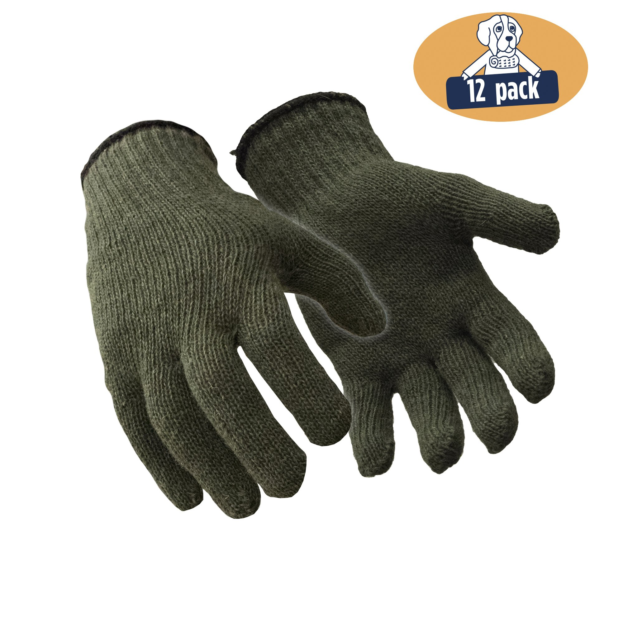 RefrigiWear Military Style Wool Glove Liner, Pack of 12 Pairs (Green, Small/Medium) by Refrigiwear