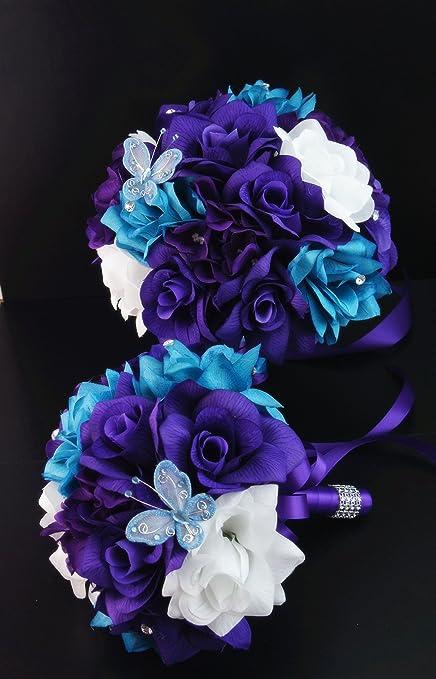 Amazon.com: 13pc Wedding Bridal Flowers Bouquets Boutonniere ...