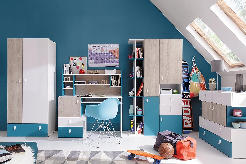 QMM Traum Moebel Jugendzimmer Kinderzimmer komplett Space Set C Schrank 2-Tür. 2 Standregale Schreibtisch Kommode Bett 200x90 NEU