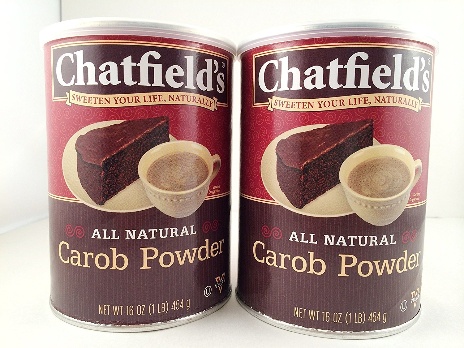 Chatfield's All Natural Carob Powder - Value Pack of Two 1 LB. Cans