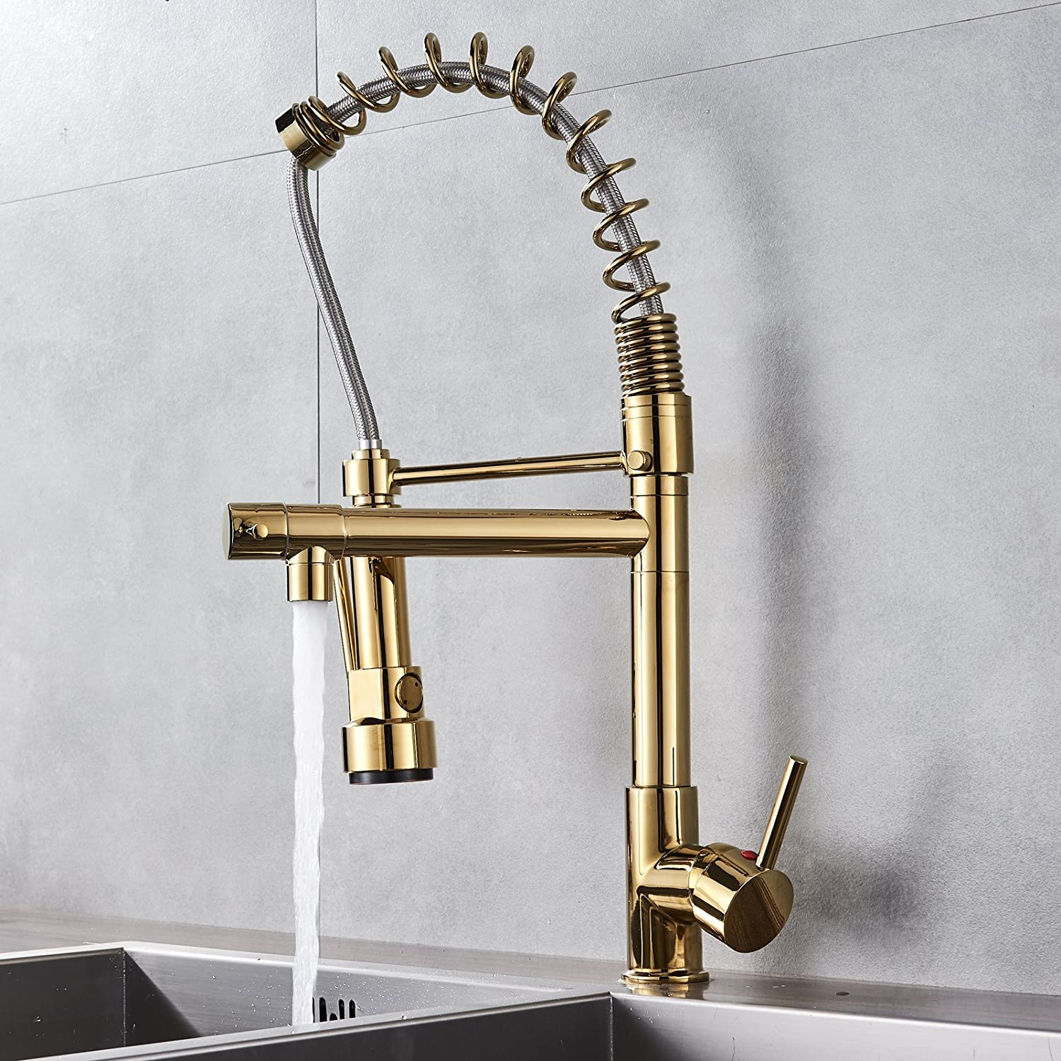 Senlesen High-Arch 360 Degree Spring Single Hole Kitchen Faucet Pull Out Kitchen Sink Faucet Gold Polish