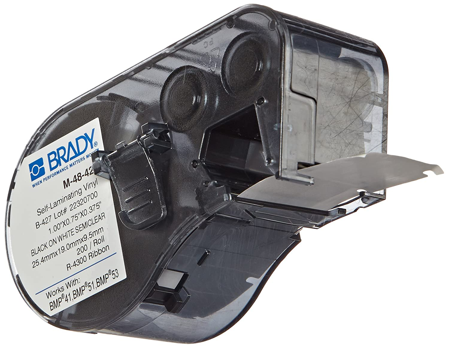 Brady Self-Laminating Vinyl Label Tape - Black on White, Translucent Tape - Compatible with BMP41, BMP51, and BMP53 Label Makers - 1' Height.375' Width (M-48-427) and BMP53 Label Makers - 1 Height.375 Width (M-48-427)
