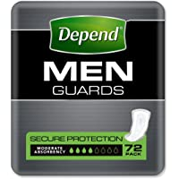 Depend Adult Care Incontinence Guards for Men, Moderate Absorbency (Pack of 72)