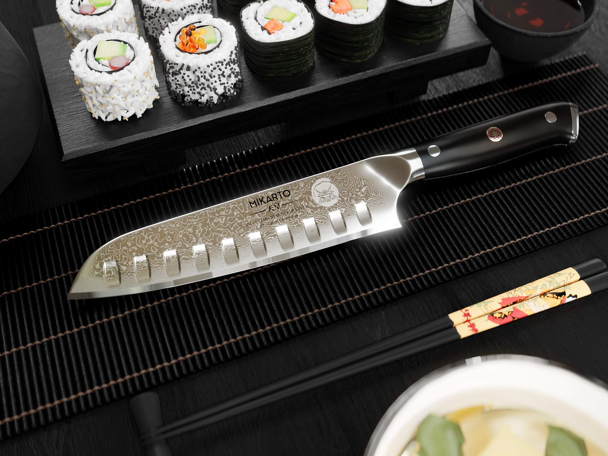 Santoku Japanese Chef Knife, 7 inch, Professional Grade - Damascus Stainless Steel Knife with Tsunami Rose Finish - Ultra Sharp, High Carbon Kitchen Knives - Quality, All Purpose, Precision Cutting by MIKARTO Knife Ware (Image #4)