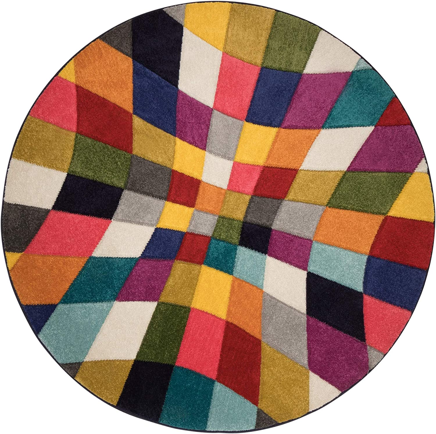 SPECTRUM ABSTRACT QUALITY HAND CARVED SOFT MULTI RUG /& RUNNER ROUND CARPET