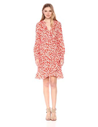 27e7f39e54 VERO MODA Women s Henna Smock Printed Wrap Dress at Amazon Women s ...