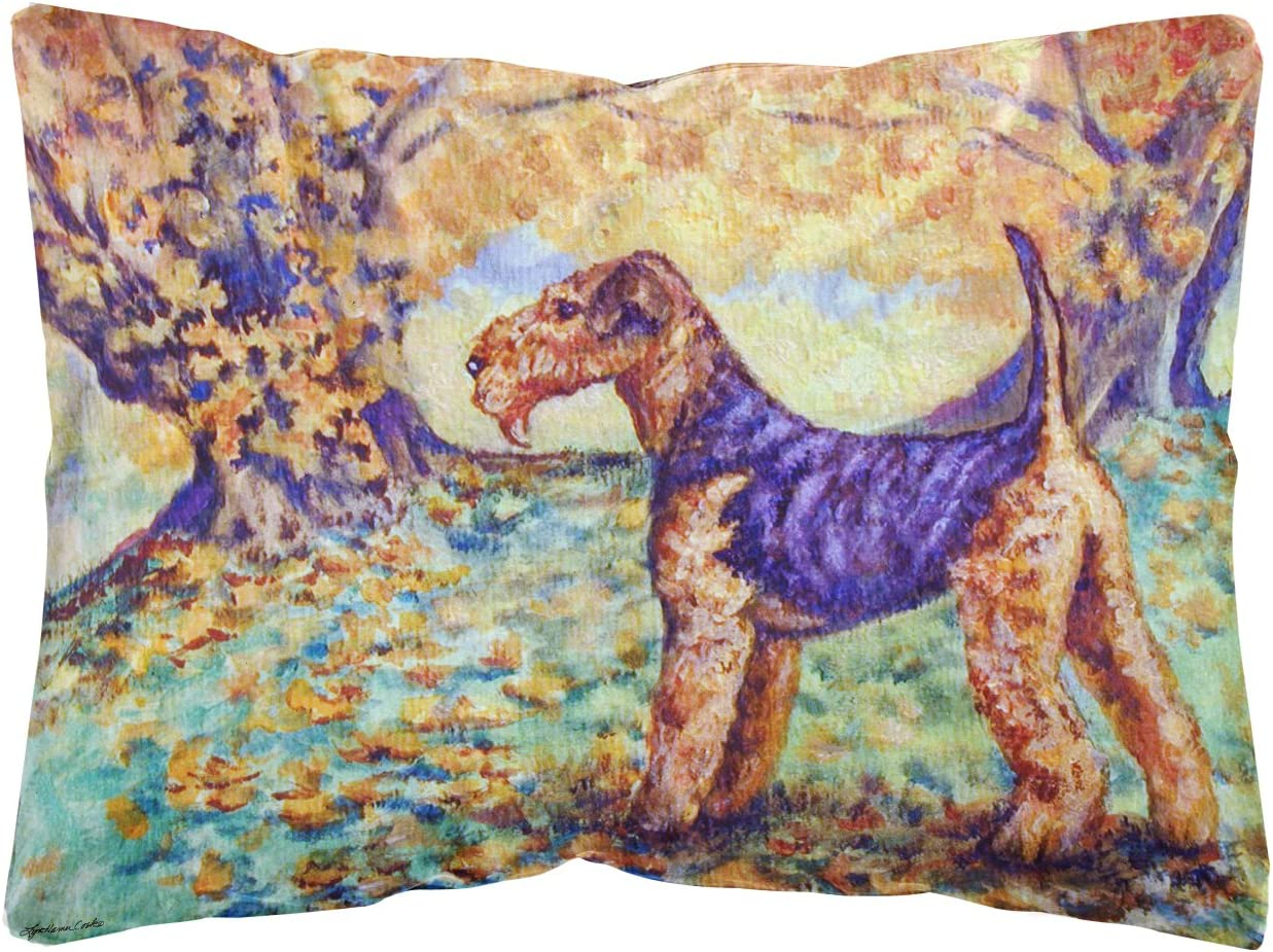 Caroline s Treasures 7343PW1216 Autumn Airedale Terrier Fabric Decorative Pillow, 12H x16W, Multicolor