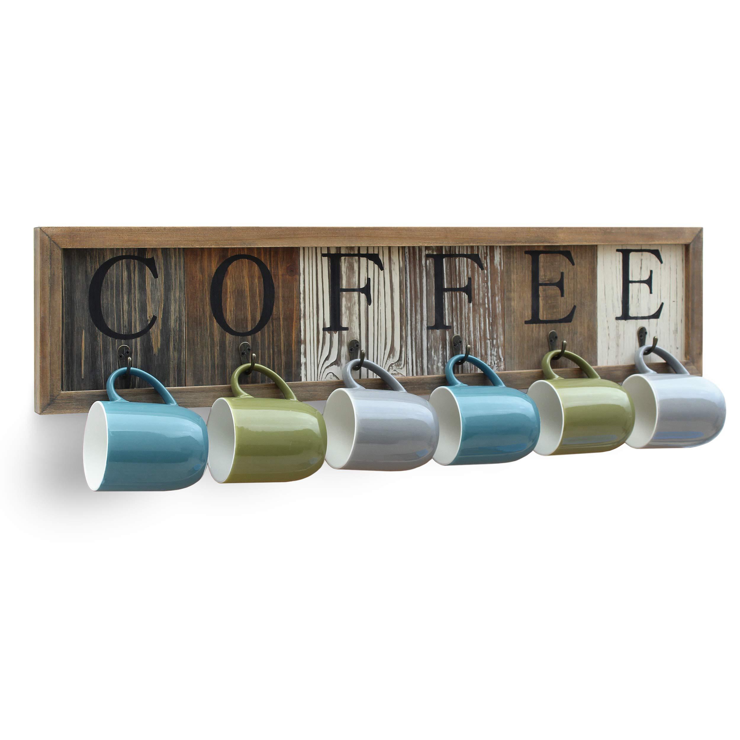 HBCY Creations Rustic Coffee Mug Rack Wall Mounted, Printed Coffee Sign - 6 Coffee Cup Hooks - Wooden Coffee Mug Display and Organizer - Distressed Coffee Rack Sign (31.5'') by HBCY Creations