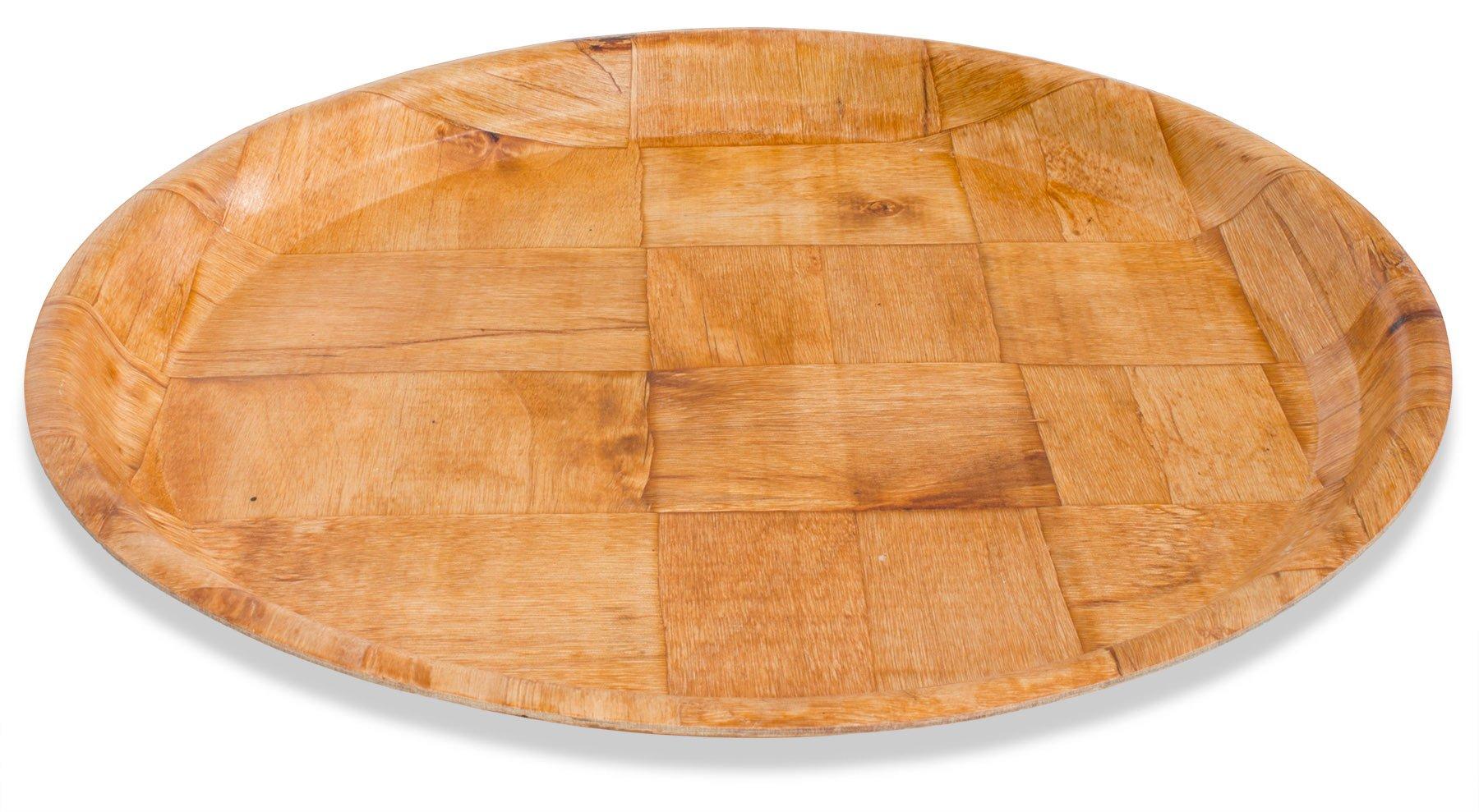 Crestware CWPR13 Woven Wood Round Tray, 13'', Brown