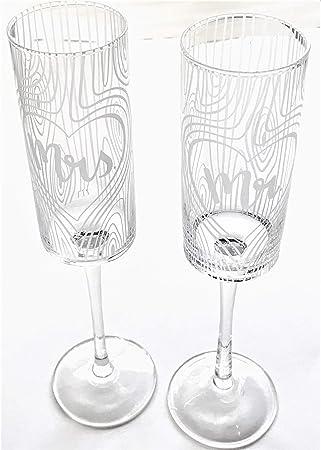 Rustic Woodgrain Embossed Mr. Mrs. Glass Champagne Glasses, wedding reception, make a toast, cake cutting ceremony glasses, flutes, anniversary, keepsake, newlyweds