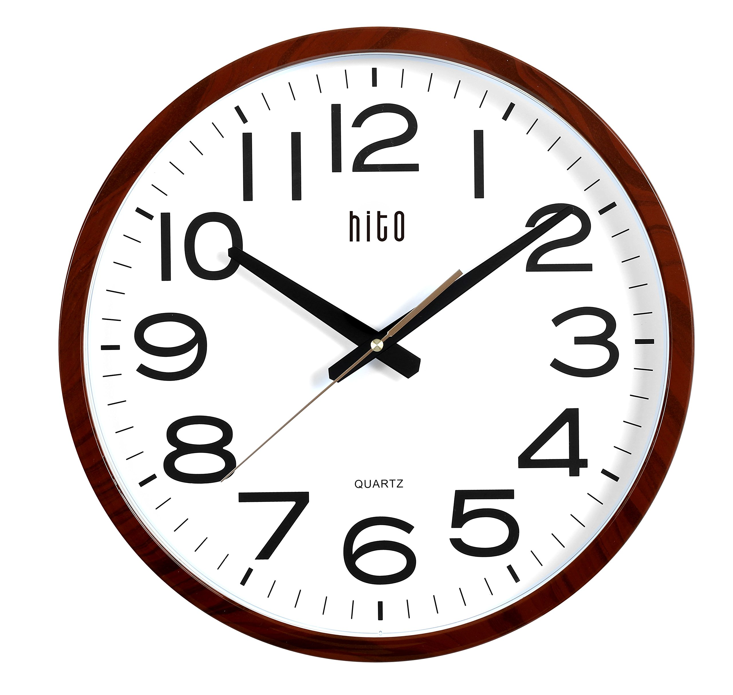 hito Modern Extra Large Oversized Silent Non-ticking Wall Clock- Glass Cover (16 inches, Wood)