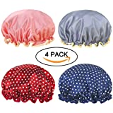 Amazon Price History for:Miracu 4 Pack Lined Satin Shower Caps, Double Layers Waterproof Bath Cap Elastic Reusable Salon Spa Shower Hat for Women