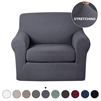 Turquoize 2 Piece Sofa Slipcover Stretch Chair Slipcovers with Elastic  Bottom Sofa Chair Furniture Protector Jacquard Stretch Couch Cover High  Spandex ...