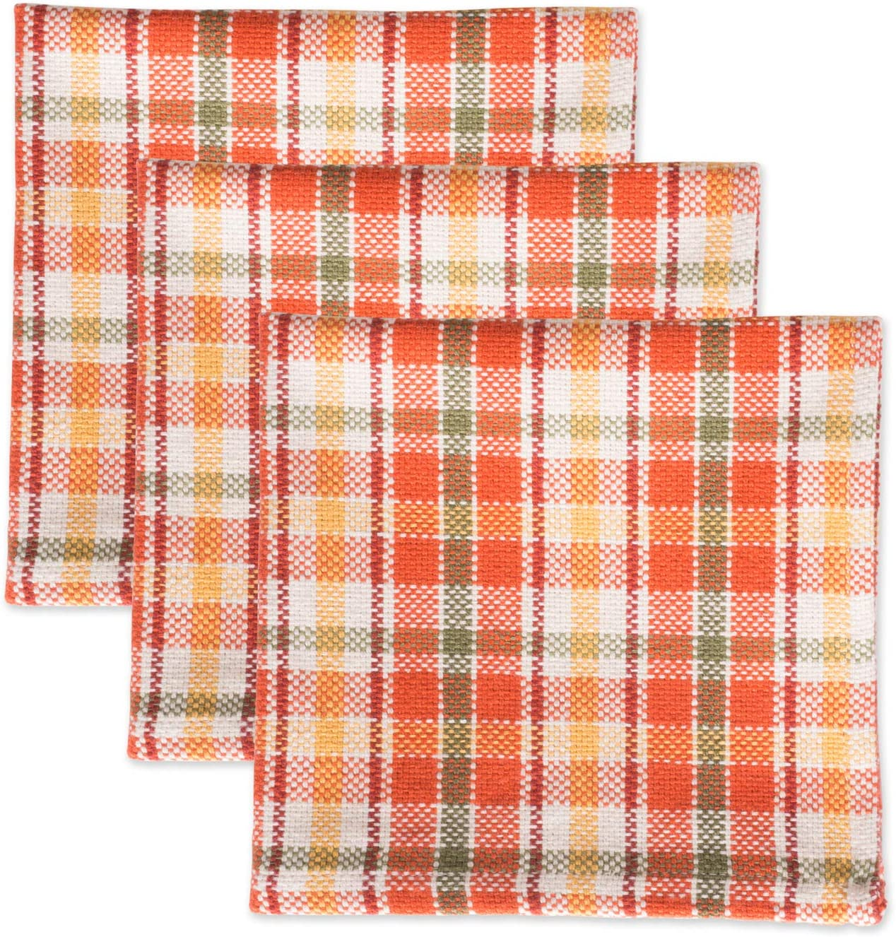 "DII Cotton Heavyweight Plaid Dish Cloths, 12 x 12"" Set of 3, Drying and Cleaning Kitchen Bar Towels for Everyday Cooking and Baking-Harvest Garden"