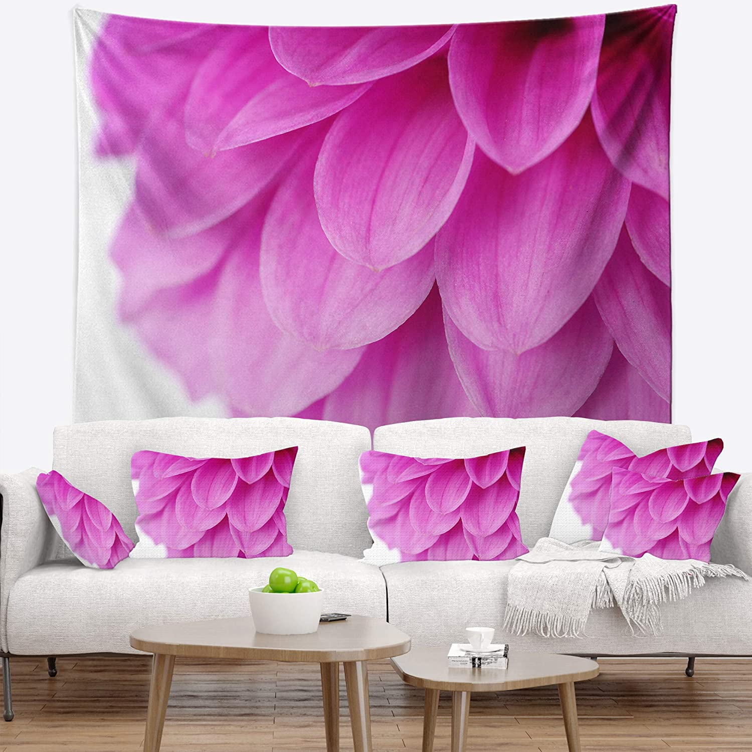 39 x 32 Designart TAP12640-39-32  Soft Purple Abstract Flower Petals Floral Blanket D/écor Art for Home and Office Wall Tapestry Medium