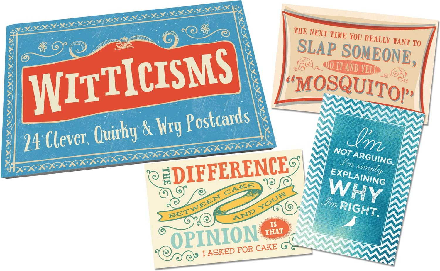Book of 24 Studio Oh Witticisms Snail Mail Postcards Available in 4 Different Themes
