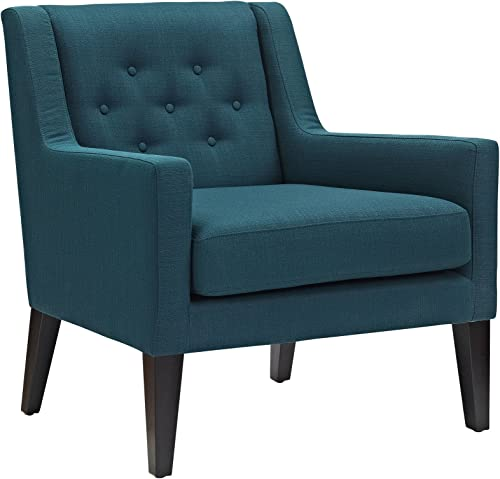 Modway Earnest Button Tufted Mid-Century Modern Accent Arm Lounge Chair in Azure