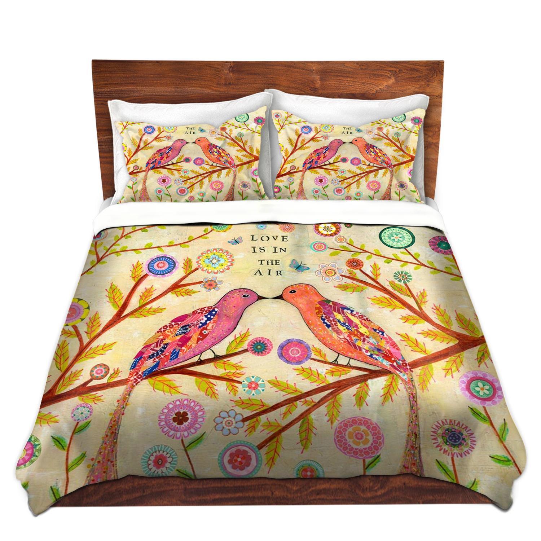 DiaNoche Designs Love Birds Cover, 7 Queen Duvet Sham Set
