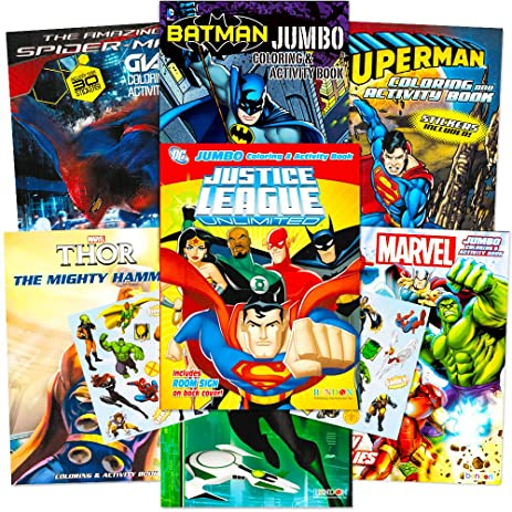 Com Superhero Giant Coloring Book Assortment 7 Books