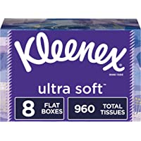Kleenex Ultra Soft Facial Tissues, 8 Rectangular Boxes, 120 Tissues per Box (960 Tissues Total)