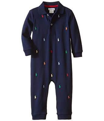 Interlock Coverall Cotton Ralph Pony Lauren Baby Navy Boys N8nwm0