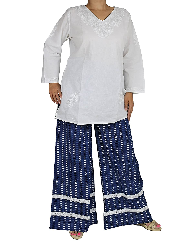 Baumwolle Palazzo Hose Lange Damen Hose, Schneiden Sie Mit Einem Lockeren Sommer Bekleidung