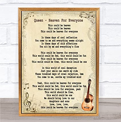 Amazon.com : Heaven for Everyone Song Lyric Vintage Quote ...