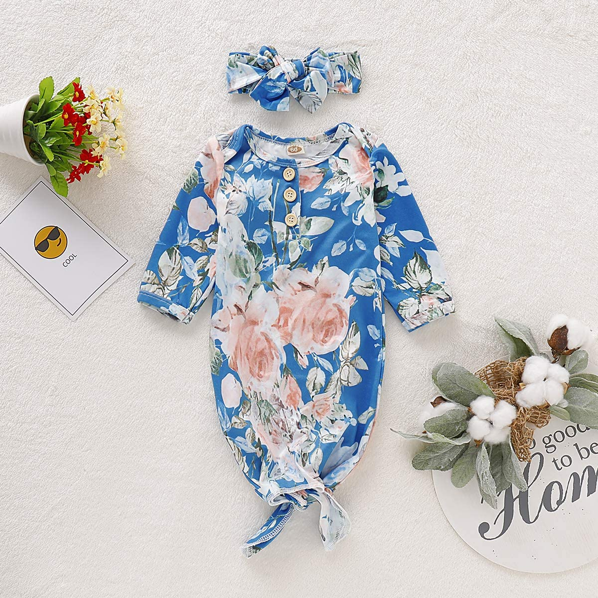 Newborn Infant Baby Girls Fall Outfit Night Gown Sleepwear Romper Jumpsuit Bodysuit 2Pc Winter Clothes Set