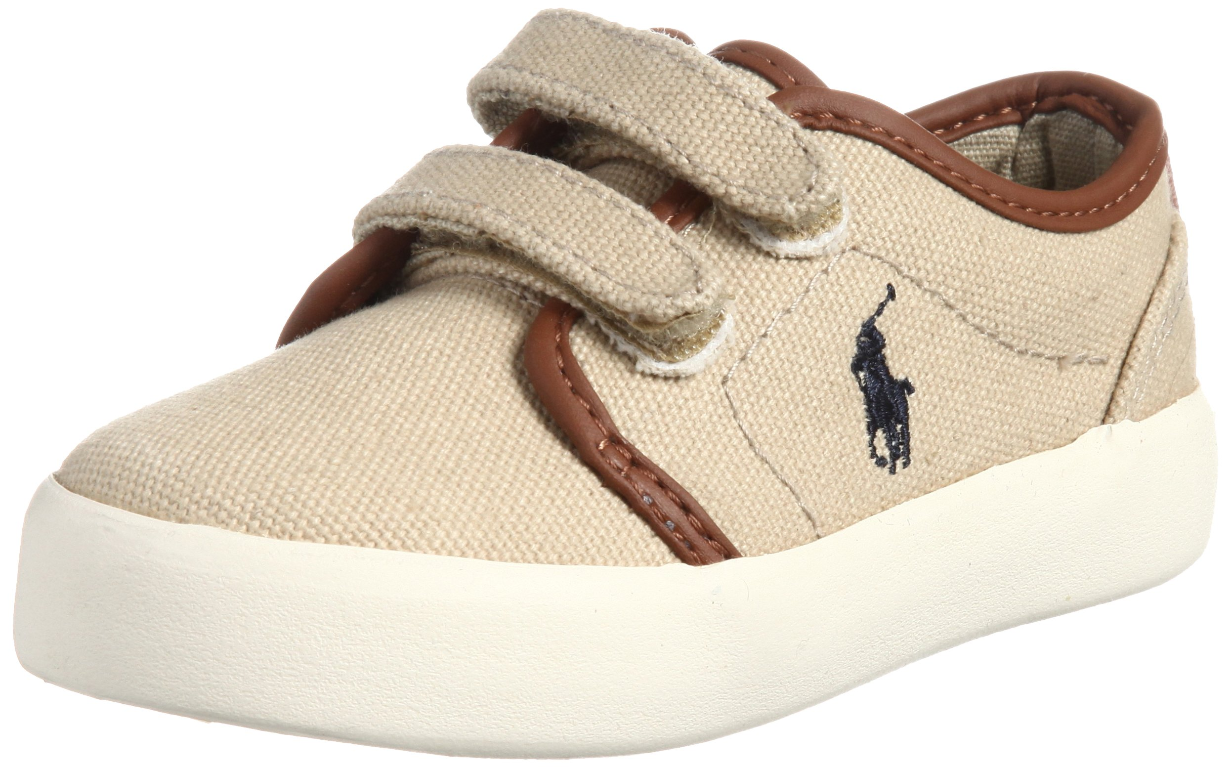 Polo Ralph Lauren Kids Ethan Low EZ Sneaker (Toddler/Big Kid),Khaki,6 M US Toddler