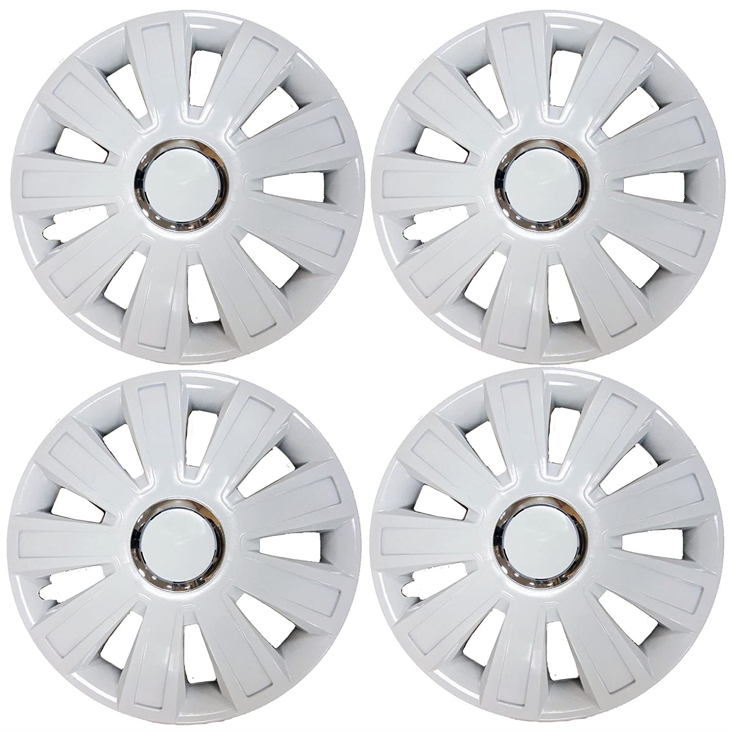 UKB4C Set of 4 White Wheel Trims/Hub Caps 13' Covers fits Fiat Panda