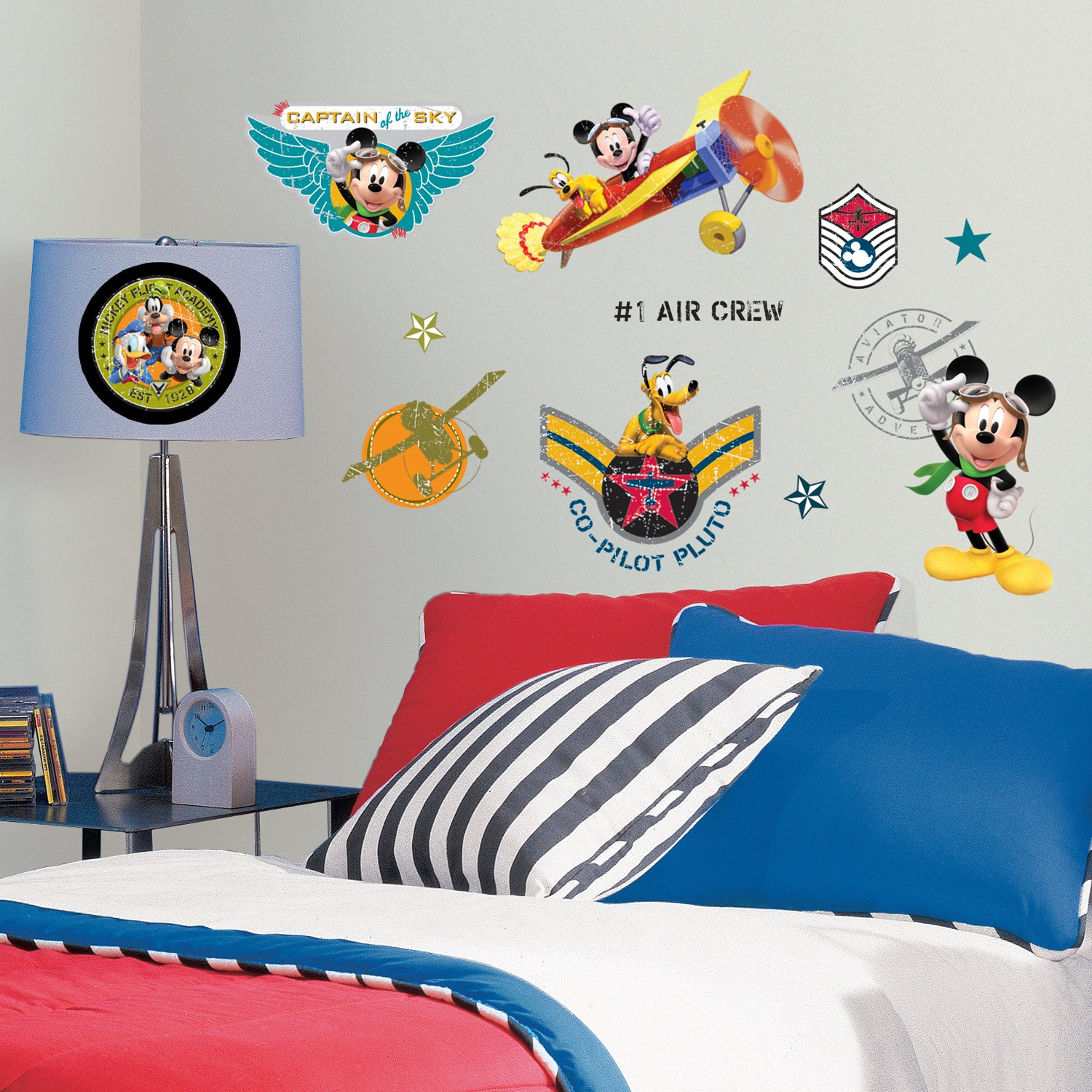 Roommates rmk1674scs mickey friends clubhouse pilot peel roommates rmk1674scs mickey friends clubhouse pilot peel stick wall decals decorative wall appliques amazon amipublicfo Choice Image