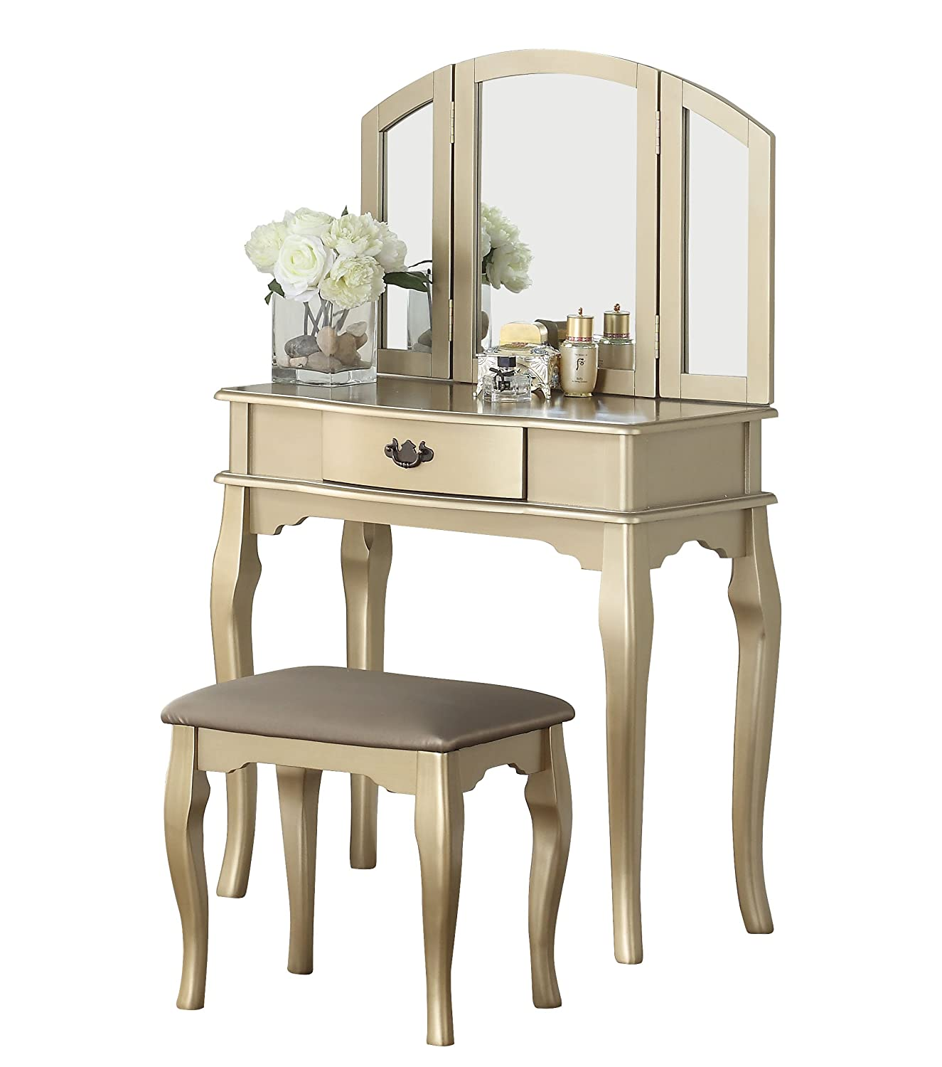 Champagne Bobkona Jaden Collection Vanity Set with Stool, White
