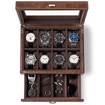 Amazon.com: Caja de reloj de cuero para hombre - Funda de ...
