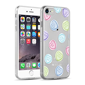 Funda De Silicona iPhone 8, iPhone 7 Case, JAMMYLIZARD Carcasa Transparente [ Sketch ] Gel Flexible Duradero Resistente Back Cover, Corazones