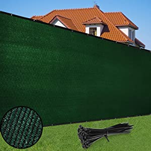Duerer Privacy Screen Fence 4' x 50' Heavy Duty Garden Windscreen 90% Blockage Shade Cover UV Protection Outdoor Panel, Backyard, Patio Protection Fencing Mesh Net Cable Ties (Green)