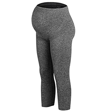 f388cdbd493ad LWJ 1982 Maternity Pregnancy Leggings Over Bump Capris Exercise Yoga Pants:  Amazon.co.uk: Clothing
