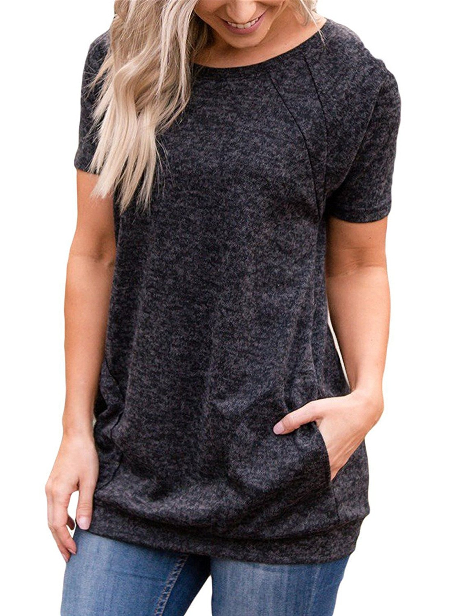 onlypuff Womens Shirts Pockets Solid Crew Neck Tunic Tops Short Sleeve Dark Gray L
