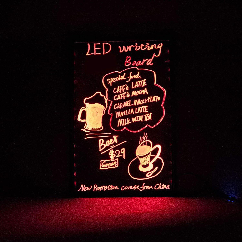 Letrero del menú del Tablero de Escritura LED neón borrable Iluminado Intermitente de 30 × 40 cm con Control Remoto (un Juego Completo, ...